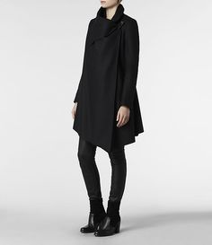 Womens City Monument Coat (Black) | ALLSAINTS.com