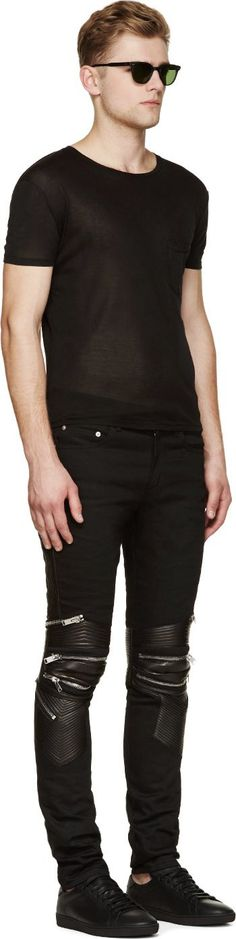 Saint Laurent Black Skinny Biker Jeans
