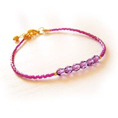 Friendship Bracelet with Faceted Purple Beads and by DicopeJewelry, $16.00