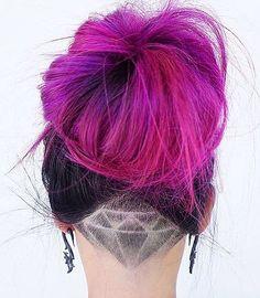Pink Hair Bun with Diamond Undercut Hair