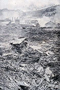 The Johnstown Flood was one of the worst disasters in US history. On May 31, 1889, a dam collapse allowed 20 million tons of water to flood the area killing over 2200 people, then the mountains of debris caught fire. 1700 houses were lost and entire trains and factories disappeared, including a barbed wire plant whose product trapped many people in the wire and drowned. The dam failure was the result of inept dam management by industrial millionaire owners who never contributed to the relief.