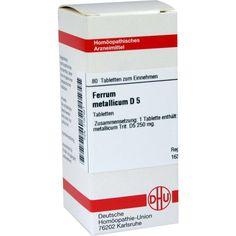 FERRUM METALLICUM D 5 Tabletten:   Packungsinhalt: 80 St Tabletten PZN: 07167921 Hersteller: DHU-Arzneimittel GmbH & Co. KG Preis: 5,64…