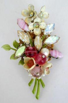 Flower Pin Iridescent Glass Stones Beads 50 60'S