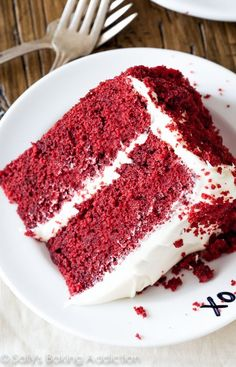 This soft, fluffy red velvet layer cake with cream cheese frosting is a masterpiece!