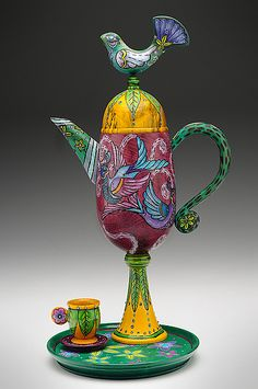 """Garden Tea""  Wood Teapot  Created by Janet O'Rourke"
