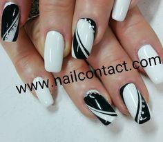 Metallic Nails, Silver Nails, White Nails, Black Nail Designs, Gel Nail Designs, Elegant Nails, Stylish Nails, Fancy Nails, My Nails