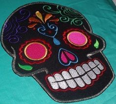 Sugar Skull EMBROIDERED patch '9' multi pink Day of the Dead