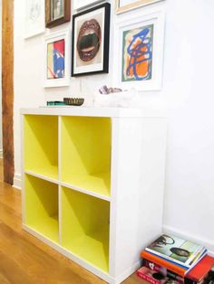 Add color to the insides of your Kallax shelves if you want to liven up a room.