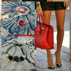 Braceletes casual# vermelho# negro