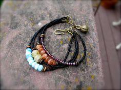 Multi Strand Beaded Bracelet: Apatite, Sunstone, Lampwork, Garnet, African Trade Beads, & Bone - Empyrean III