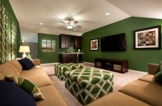 Love the Green! Bonus Rooms, Lofts, Game Room, Flooring, Decorating, How To Plan, Cool Stuff, Bedroom, Colors