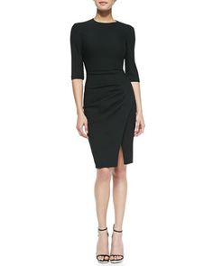 3/4-Sleeve Side-Pleated Dress by L\'Agence at Neiman Marcus.