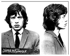 Mick Jagger posed for the above mug shot in 1967 after being arrested in England on a narcotics charge. Jagger, 23, was busted after police, acting on a tip, raided the country home of fellow Rolling Stone Keith Richards, who was also collared. Jagger, photographed at a Brixton jail, spent a few nights in custody before making bail.