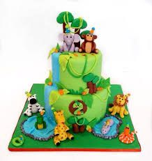 I made this cake for my son's birthday! Everything is handmade from fondant. Jungle Safari Cake, Jungle Birthday Cakes, Jungle Theme Cakes, Animal Birthday Cakes, Jungle Theme Parties, Safari Cakes, Safari Birthday Party, Animal Cakes, Baby Boy 1st Birthday