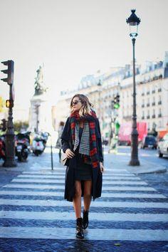 LITTLE BLACK DRESS - adenorah - plaid scarf