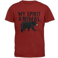 """Your spirit animal is the Bear. You are strong and confident. You are a grounded leader, who can confidently stand against adversity. This Animal World design features the text """"My spirit animal"""" with a graphic of a black bear, and is printed on a 100% cotton, adult t-shirt."""