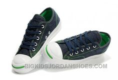a2ced122425 CONVERSE Jack Purcell Blue Denim Jean With Green Serif Canvas Shoes