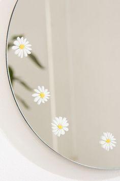 Slide View: Daisy Round Mirror decor diy Home Décor + Apartment Sale Aesthetic Painting, Aesthetic Room Decor, Diy Mirror, Mirror Art, Mirror Decal, Mirrors Urban Outfitters, Daisy, Mirror Painting, Ideias Diy