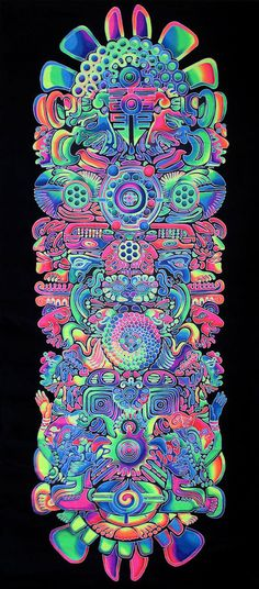 Giant UV Banner : Totem - Giant Banner / Backdrop / Tapestry A fantastic detailed banner mixing the symbology of the Mayans with the bubblicious rainbow psychedelia of Luminokaya. Trippy Tapestry, Psychedelic Tapestry, Art Mural, Wall Art, Hippie Bedroom Decor, Lsd Art, Trippy Painting, Trippy Wallpaper, Stoner Art