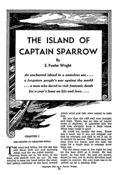 Lawrence Sterne Stevens, The Island of Captain Sparrow by S. Fowler Wright, Famous Fantastic Mysteries 46-04, P.11.