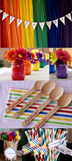Rainbow Party Decor: Painted Mason Jars, Plastic Tablecloth Backdrop, Stamped Wooden Spoons, Striped Straws & more!