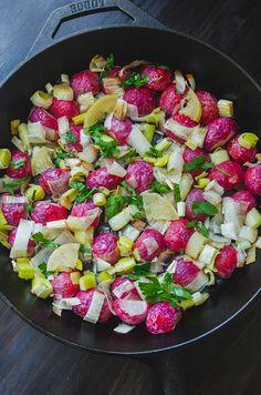 Duck Fat Roasted Radishes & Leeks With Lemon & Herbs | soletshangout.com #spring #vegetables #duckfat #paleo #primal #radishes #roasted #skillet #leeks