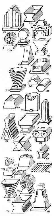 """""""These designs look more like leggo blocks than decor, easily outdated"""" Ettore Sottsass, Poster for Yantra Ceramics, 1969"""