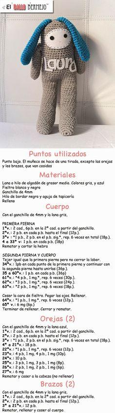 Patrón gratis español - #amigurumi #free #pattern @Evan Sharp lske Gallo Bermejo