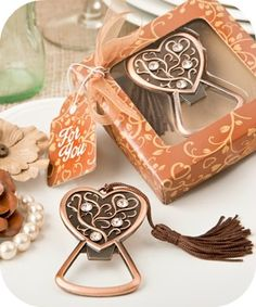 Copper Heart bottle opener favors - rustic wedding favors - COUPON is saveme5