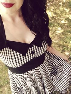 Black Gingham Dress. Though I'm not a big fan of the frayed ruffle hemline and would probably use a black horizontal stripe instead.