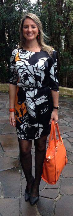 Look de trabalho - look do dia - orange - bolsa laranja