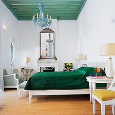 """1,231 Likes, 22 Comments - LUKE EDWARD HALL (@lukeedwardhall) on Instagram: """"Yves Saint Laurent's bedroom at Villa Mabrouka, Tangier. Love the pale blue, emerald green and…"""""""