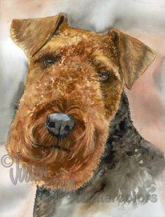 WELSH TERRIER Dog Pet Portrait Watercolor Painting by k9stein,