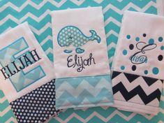 Set of 3 Personalized Burp Cloths - Diaper Cloths - Baby Boy - Monogrammed - Gift Set - Chevron- Polka Dot- Whale on Etsy, $32.00