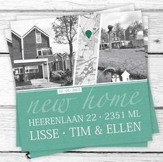Ontwerp verhuiskaart. Deze kaart wordt gepersonaliseerd met foto's van jullie nieuwe huis en natuurlijk de nieuwe adresgegevens. Kijk voor meer informatie op www.studioapril.nl