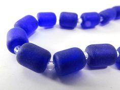 Cobalt Blue Matte 10x8mm Czech Glass Barrel Jewelry Beads (17)