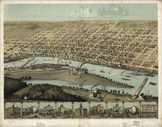 8 x 12 Reproduced Photo of Vintage Old Perspective Birds Eye View Map or Drawing of: Saginaw City [Michigan 1867] Ruger, A. 1867