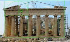 The Parthenon showing a Golden Spiral overlay illustrating Phi or Golden Ratio proportions Phi Golden Ratio, Golden Ratio In Design, Sacred Architecture, Classical Architecture, Fractal Geometry, Sacred Geometry, Divine Proportion, Chiaroscuro, Macro Photography