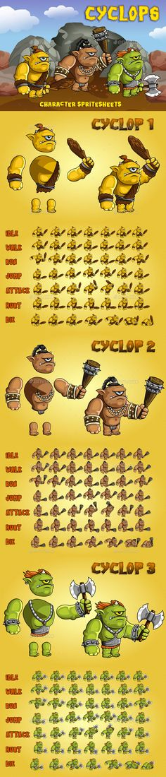 Buy Cyclops Game Character Sprite Sheet by craftpix_net on GraphicRiver. Here is a set of Cyclops Game Character Sprite Sheet. It includes three characters at once. They differ in color . 2d Character, Game Character Design, Game Design, Android Animation, Free Game Assets, Pixel Art Templates, Game Gui, Game Background, Fantasy Monster