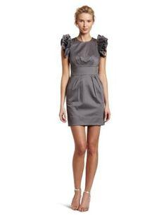 Jessica Simpson Women's Flutter Sleeve Dress With Front Pleats