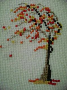 This Pin was discovered by Ton 123 Cross Stitch, Cross Stitch Tree, Cross Stitch Designs, Cross Stitch Patterns, Needlepoint Stitches, Needlework, Paper Embroidery, Embroidery Designs, Cross Stitching