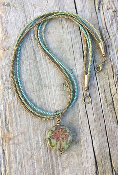 Dragonfly Necklace Colorful Blue Green Dragonfly by RusticaJewelry