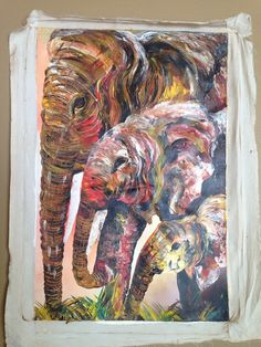 This amazing original acrylic painting is by Ugandan artist, Davis Muwumba. Using a variety of colors and brush strokes, he incorporates his