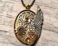 Steampunk Pendant Necklace, Steampunk Jewelry, Angel Wing Collage Pendant, Gears and Cogs, Goldtone Vintage Watch Movement, Unique Jewelry