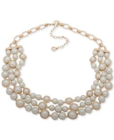 """Anne Klein Gold-Tone Imitation Pearl Triple-Row Collar Necklace, 16"""" + 3"""" extender - Gold Multi Strand Pearl Necklace, Collar Necklace, Anne Klein, The Row, Collars, Pearls, Gold, Jewelry, Fashion"""