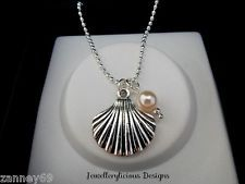Beautiful Silver Clam Shell & Pearl  Beach Inspired Necklace 47cm Ball Chain