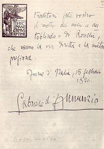 Gabriele D'Annunzio -Lettera a Mussolini pagina 3^