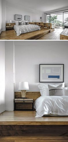 In this modern hotel room, the bed is raised up from the floor on a wood platform. #RaisedBed #ModernHotelRoom