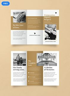 A brochure template to promote funeral homes, funeral parlors or mortuaries. This makes use of easy to edit layouts, including high-quality photos and graphic files. Download now for free. #Brochuredesigns #Brochuretemplates #freedesigns #brochures Graphic Design Brochure, Corporate Brochure Design, Brochure Layout, Brochure Template, Pamphlet Template, Flyer Layout, Leaflet Layout, Leaflet Design, Broucher Design