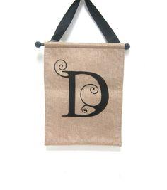 Monogram Door Banner Letter D Tattoo Lettering Fonts, Lettering Design, Hand Lettering, Typography, Banner Letters, Monogram Letters, Alphabet Letters, Initial Art, Burlap Signs